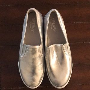 Sperry Topside silver slip on shoes, size 9.